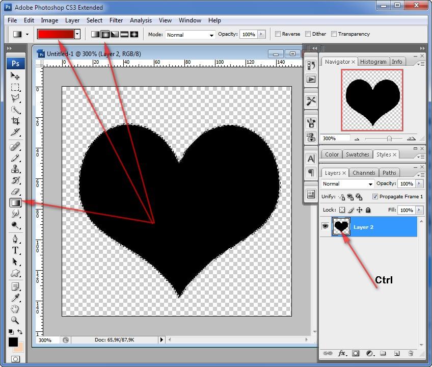 Как сделать сердце в фотошопе