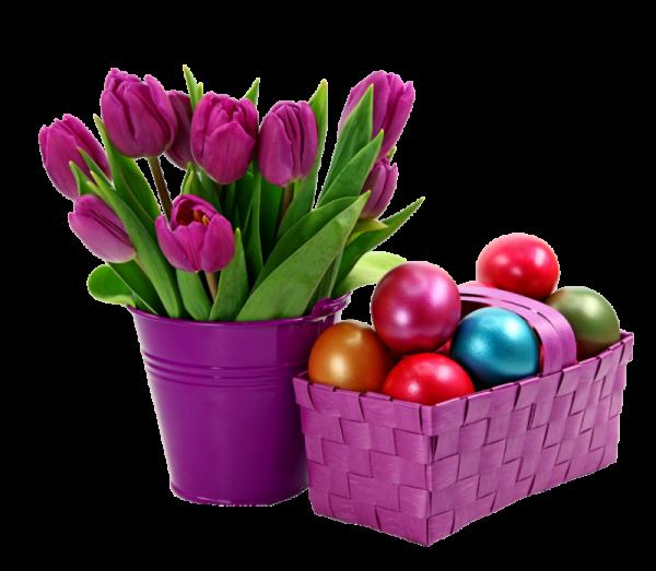 Пасхальная корзинка с яйцами крашенками