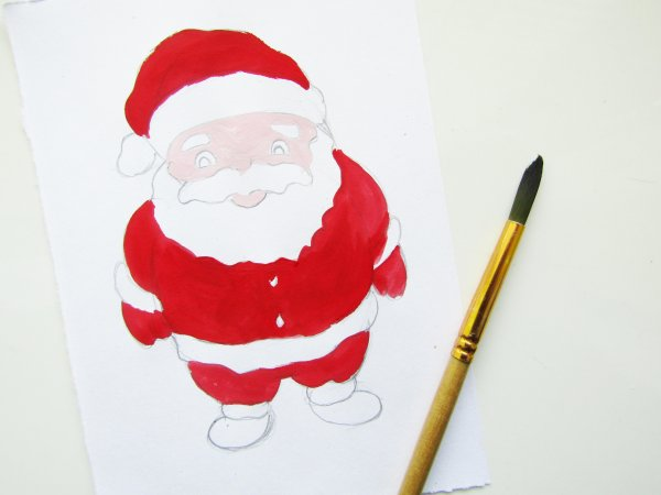 Как нарисовать Деда Мороза гуашью