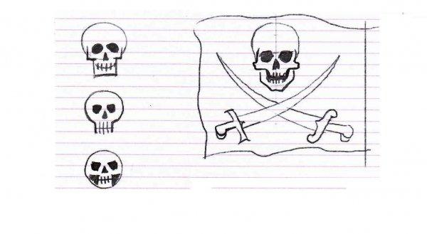 череп для детского рисунка